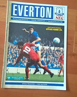 Everton v Coventry programme, 2 Dec 1989. Good condition.
