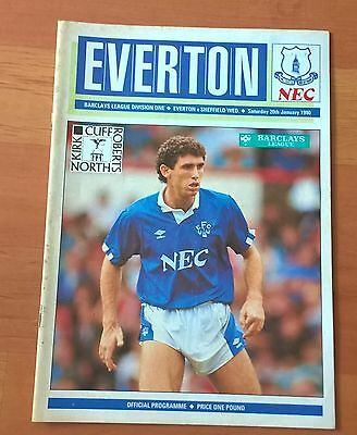 Everton v Sheffield Wednesday programme, 20 Jan 1990. Good condition.