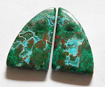 NATURAL AFRICAN MALACHITE CHRYSOCOLLA (23mm X 15mm) EACH CABOCHON PAIR