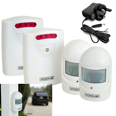 Voche® Wireless Driveway Security Intruder Alarm 2 Alarms 2 Sensors 2 Dc Adapter