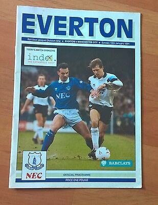 Everton v Man City programme, 13 Jan 1991. Good condition.