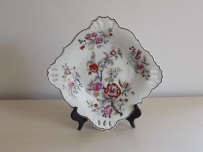 Beautiful Floral Hand Painted Plate with Pierced Corners