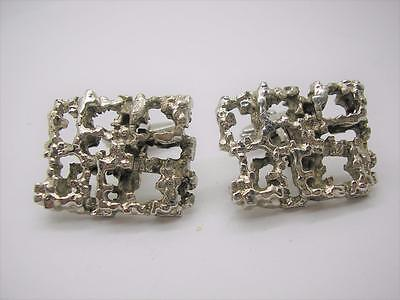 Vintage Heavy Modernist Sterling Silver Large Abstract Cufflinks