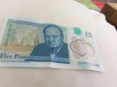 Five Pound Note with Low Serial Number AA06