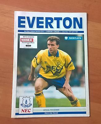 Everton v Chelsea programme, 13 April 1991. Good condition.