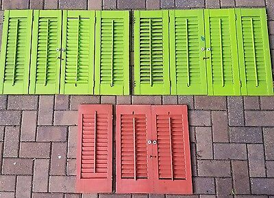 VTG Interior Indoor Wood Shutters  11 PANELS Louvered Shabby Chic