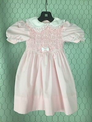 Polly Flinders Vintage Smocked Dress Pink Lace Trim Collar Sz 4T EUC
