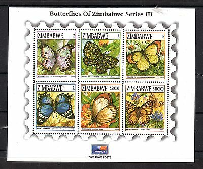 Zimbabwe 2007 Butterflies MNH mini sheet WS5001