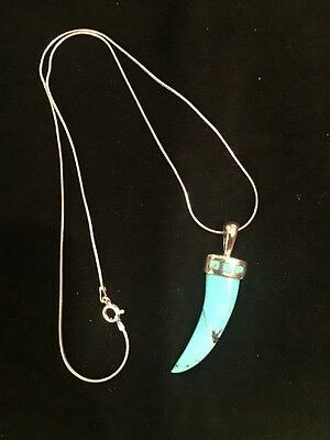"18"" BARSE Carved Turquoise Pendant On Sterling Silver Chain Necklace"