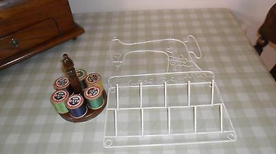 Two Cotton Reel Holders 1 Wooden With 6 Vintage Cottons & 1 Plastic Coated One