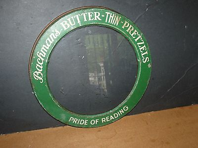 Vintage RARE Bachman's Butter Pretzels Pride Reading Glass w Metal Tin Lid Tray