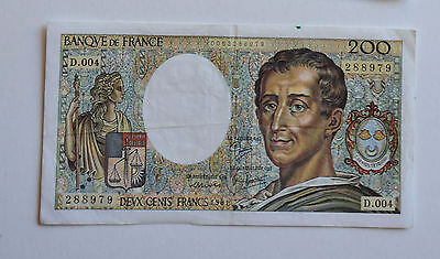 Billet de 200 Francs Montesquieu 1981 N°288979 D.004 SUP France