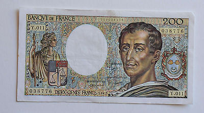 Billet de 200 Francs Montesquieu 1982 N° 038776 Y.011 SUP France