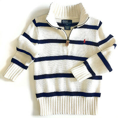 Ralph Lauren Polo Baby Boys Cotton Half-Zip Striped Pullover Sweater, 3T - EUC!