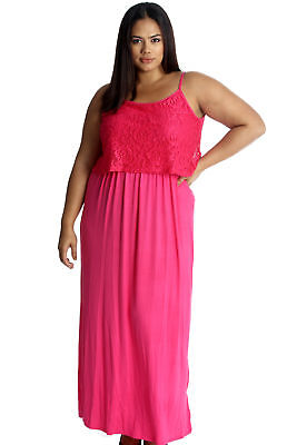 New Womens Dress Plus Size Maxi Ladies Floral Lace Full Length Sleeveless Summer