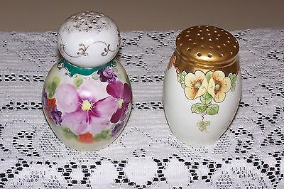 Antique Hand Painted Pair of Powder/Muffineers Shakers
