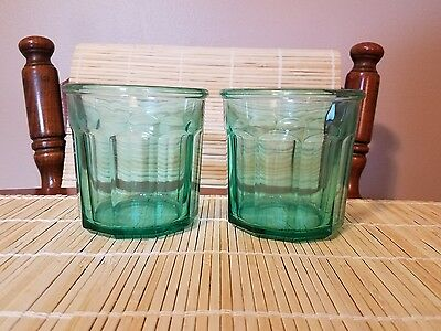 2 Luminarc France Aqua 10-Panel 500 Glasses Tumblers 16 oz EXCELLENT