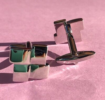 Square Mirrored Silver Tone Stainless Steel Men's Wedding Gift Cufflinks - New