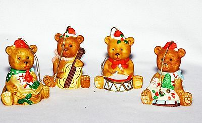 Holiday Bear Bells Vintage Collectible Lot of 4 Christmas Porcelain Home Decor