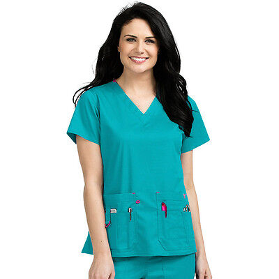 Med Couture Women's Medium Rescue Cargo Scrub Set 8425 Top 8761 Pant Teal