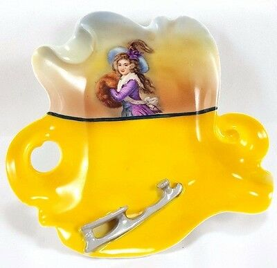 Royal Bayreuth ASHTRAY w/ APPLIED ICE SKATE c1900 RARE design EXCELLENT Cond.
