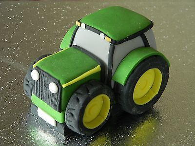 Large Tractor Edible Handmade Birthday Cake Topper with Name & Number