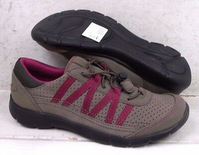 NEW Clarks Womens Hedge Tipi Gray Leather Sneakers Shoes 67667 size mm 6 M*