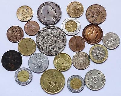 World Coins Lot Of 20, *silver Crown Included*