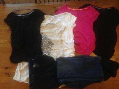 Maternity Lot of tee shirts, jeans, capris size small