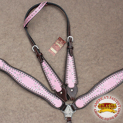 Hilason Western Leather Horse One Ear Headstall Breast Collar Crocodile Pink