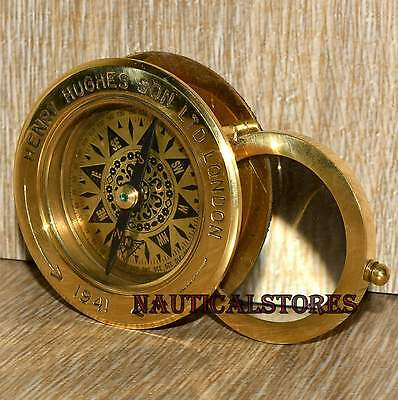 Brass Flip out Compass Antique Magnifier Marine Collectible.