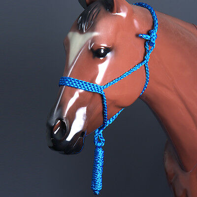Classic Equine Braided Strong Uv Protect Horse Rope Halter W/ 8' Lead Blue