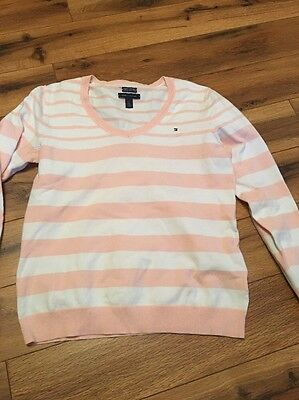 Tommy Hilfiger Sweater Women Size Large Pink White Striped Long Sleeve