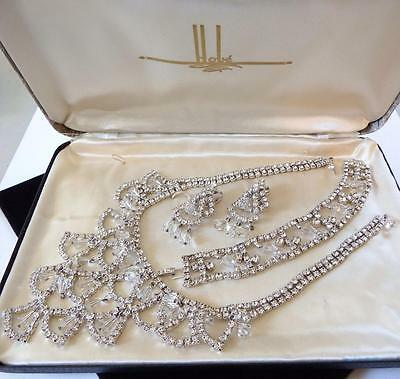 Vintage Hobe' Clear Rhinestone Crystal Necklace Bracelet Earring Set Orig Box