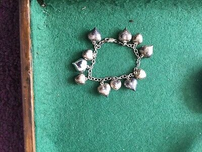 Sterling Silver 925  Vintage Bracelet with Heart charms