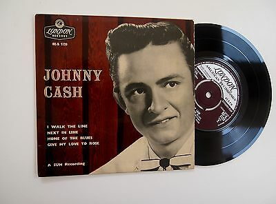 "JOHNNY CASH - I WALK THE LINE EP 7"" 45 VINYL RARE London 1958 Sun S/t  RE-S 1120"