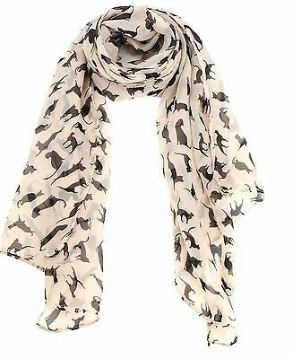 Black Cats Playful Silhouettes White Scarf Kitty Lover Gift New Halloween Decor