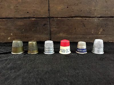 Lot Of 6 ANTIQUE THIMBLES Silver, Brass & Advertising VINTAGE SEWING Collectible