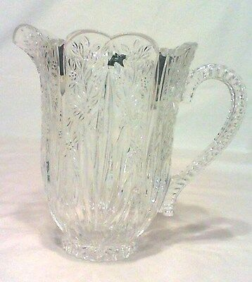 """Vintage Onieda Crystal Southern Garden Pitcher 4 Cup  7-1/2"""" Tall, Germany Mint"""