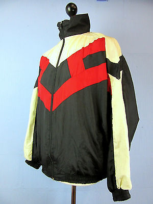 VINTAGE RETRO black SHELL TRACKSUIT TOP JACKET zip up BAGGY FIT XLARGE tt22