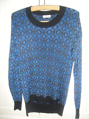Rrp£245 Paul Smith Blue Black Wool Blend Ladies Jumper Sweater Top Size M