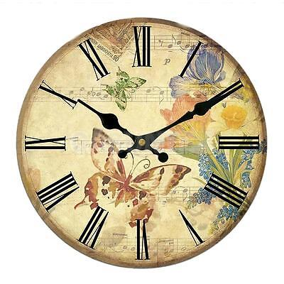 Rustic Wooden Large 30cm Clock Vintage Retro Wall Butterflies and Flowers