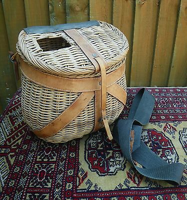 Vintage English Mid Century Wicker Fishing Creel ~ Leather & Canvas Straps
