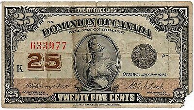 Dominion of Canada 25 Cents 1923 Campbell/Clark (P-11c / DC-24d)