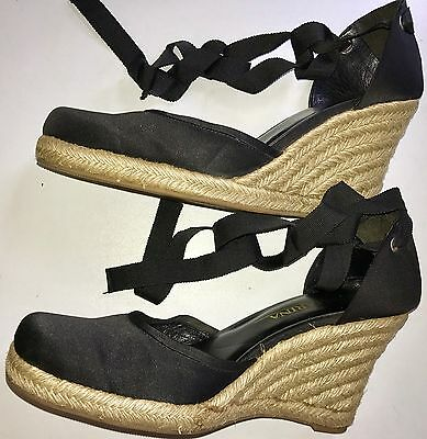 Court Shoes Wedge Heels San Marina  Black With Lace .very Good Condition. Size 6