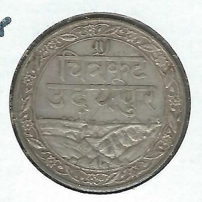 India Mewar 1/2 Rupee 1928 XF