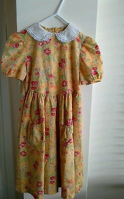 Vintage Laura Ashley Dress Age 5 Mustard Floral Bridesmaid Dress ? White Lace  .