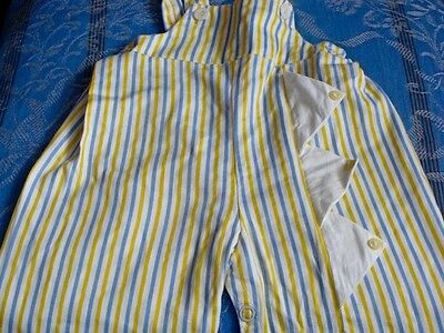 VINTAGE STRIPED TODDLER/Large BABY/DOLL/CHILD OVERALLS/JUMPSUIT Blue Yellow Wht