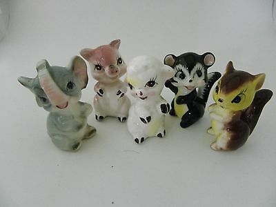 """Five promotional 2 1/4"""" Animal Figurines - made in Japan"""