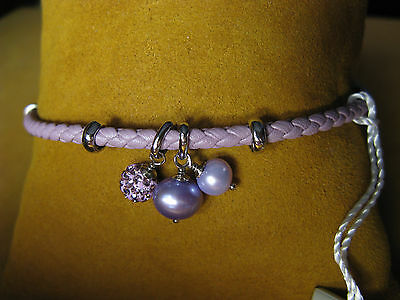 PEARL LEATHER CRYSTAL BRACELET HEART LAVENDER CHARM GIFT HONORA Graduation Day
